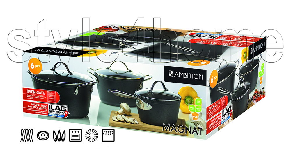 Energy Saving 6 Pc Pot Set Saucepan Cookware Casted